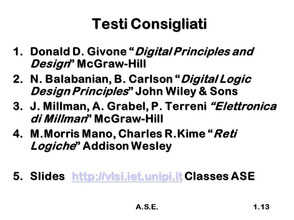 Testi Consigliati Donald D. Givone Digital Principles and Design McGraw-Hill.