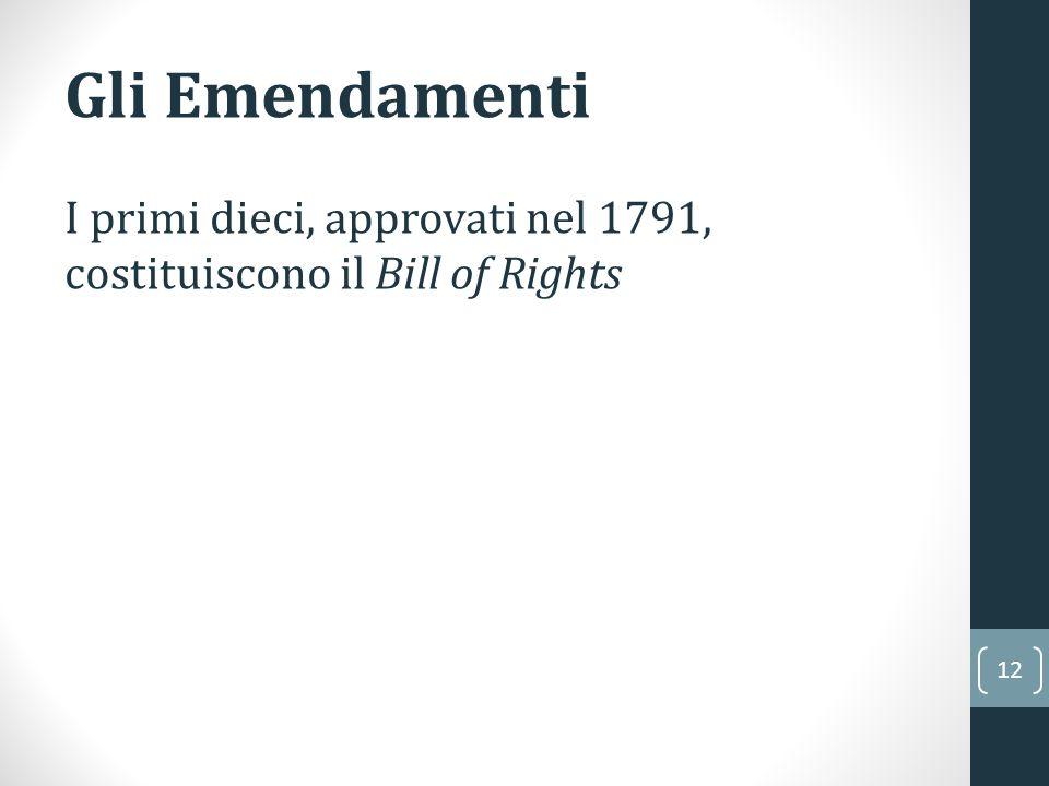 Gli Emendamenti I primi dieci, approvati nel 1791, costituiscono il Bill of Rights