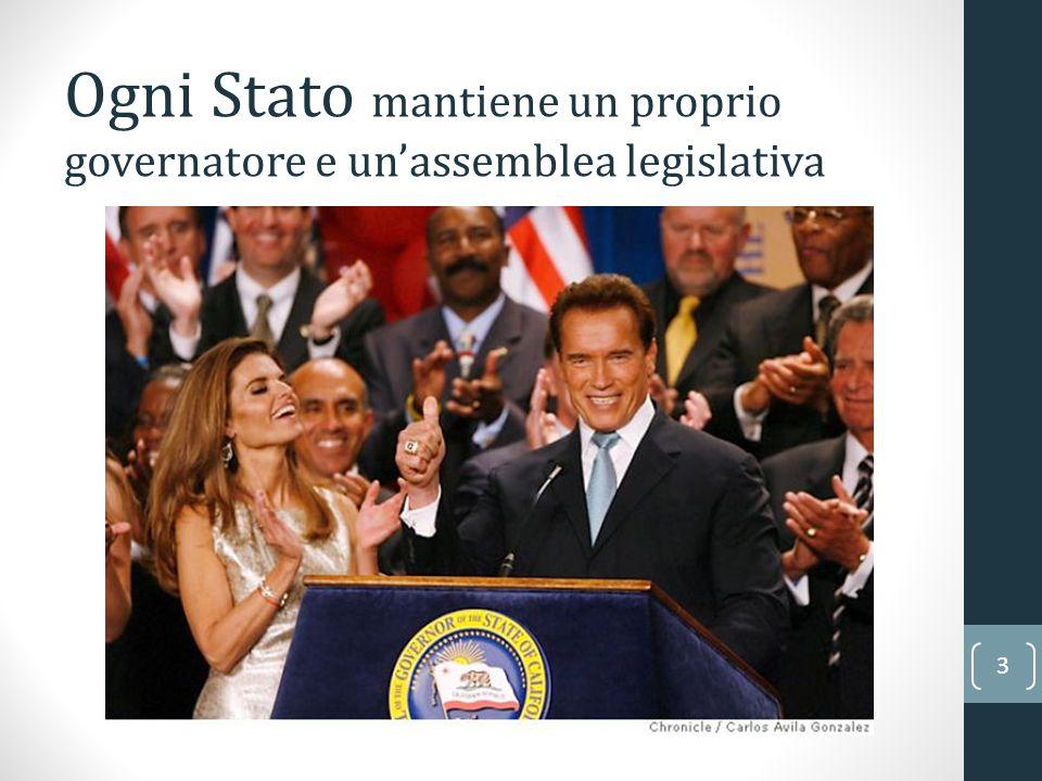 Ogni Stato mantiene un proprio governatore e un'assemblea legislativa