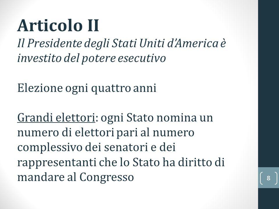 Articolo II Il Presidente degli Stati Uniti d'America è investito del potere esecutivo. Elezione ogni quattro anni.