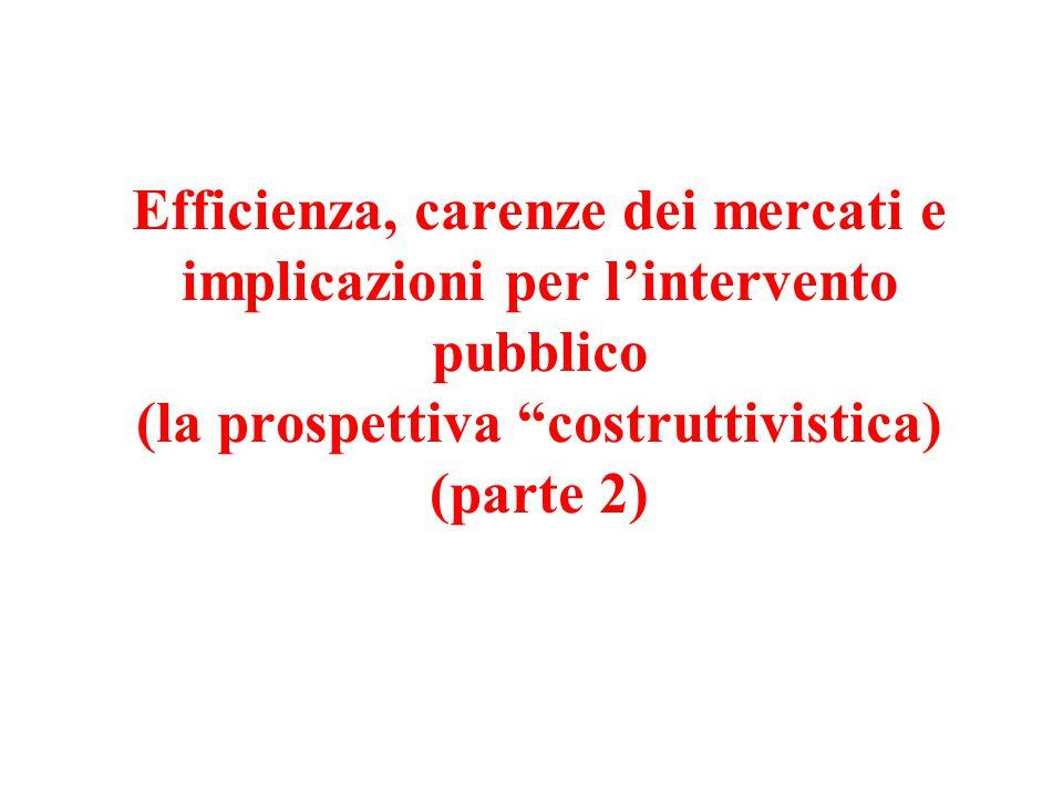 Efficienza, carenze dei mercati e implicazioni per l'intervento pubblico (la prospettiva costruttivistica) (parte 2)