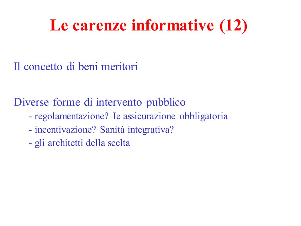 Le carenze informative (12)