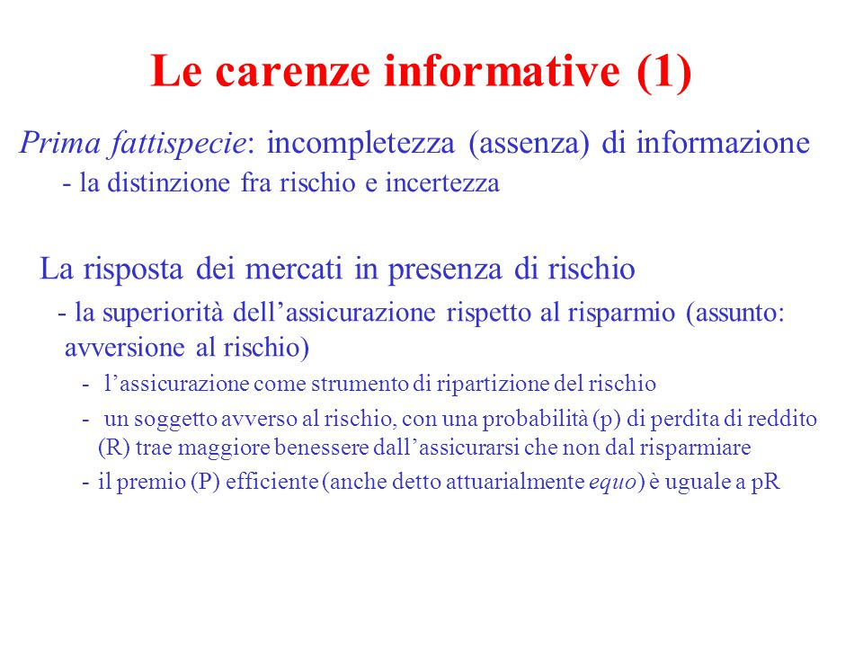 Le carenze informative (1)