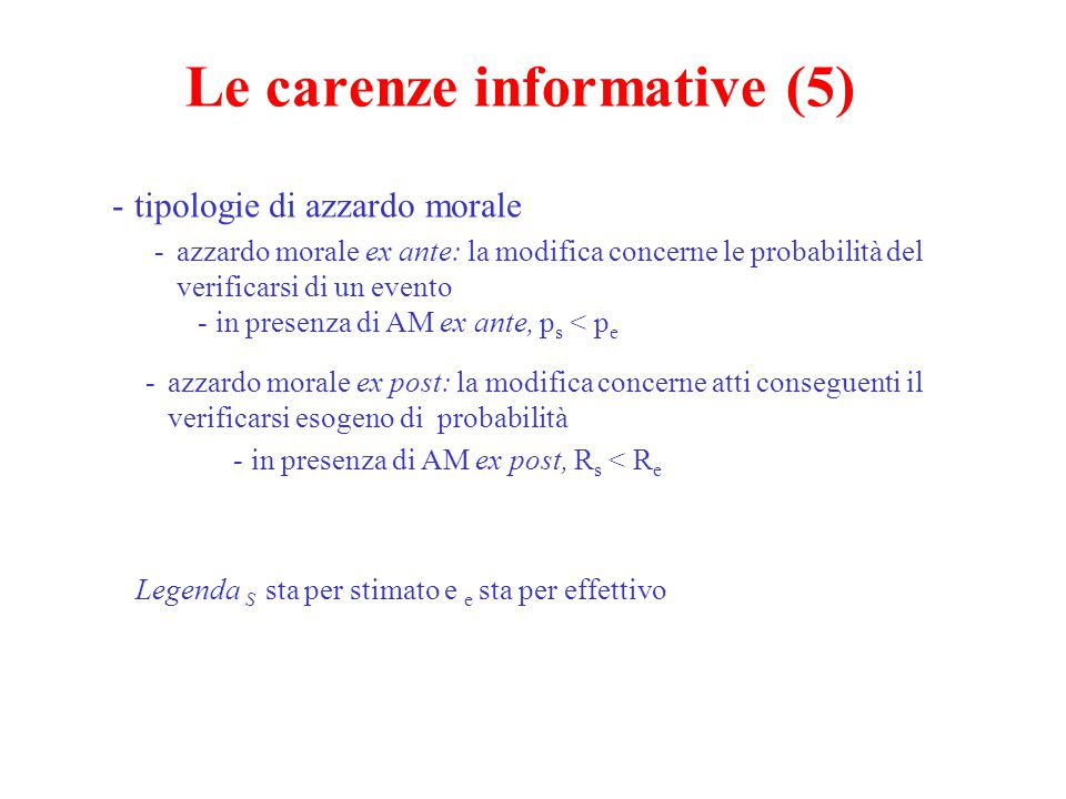 Le carenze informative (5)