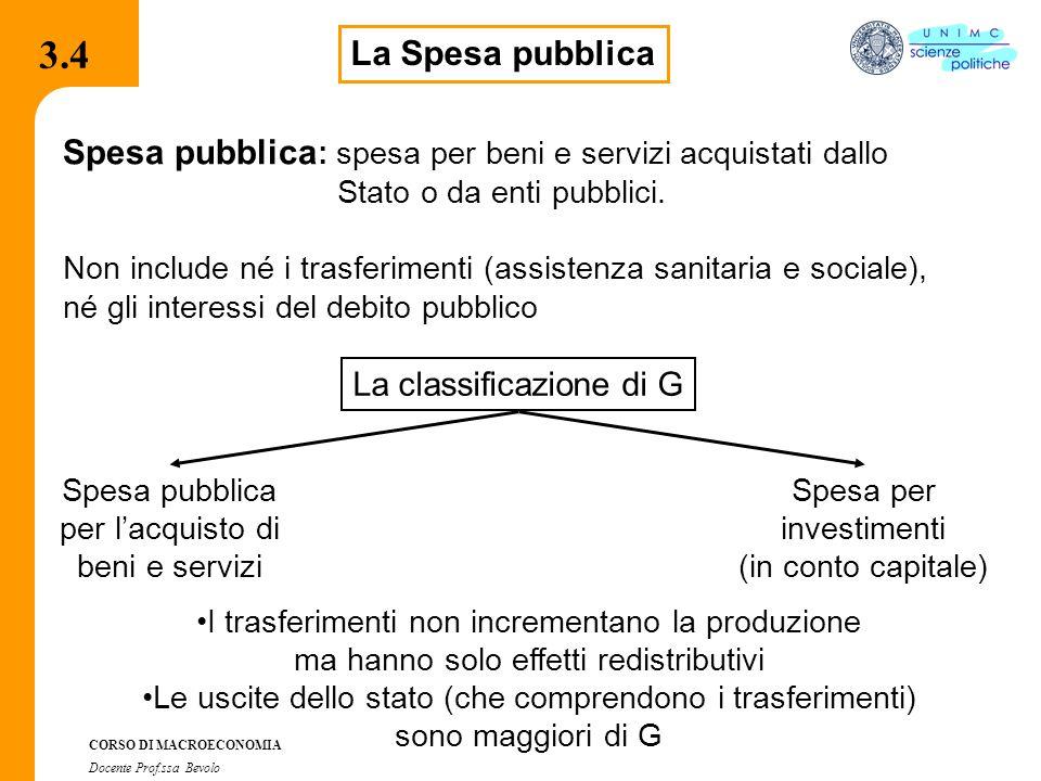 3.4 3.4. La Spesa pubblica. Spesa pubblica: spesa per beni e servizi acquistati dallo. Stato o da enti pubblici.