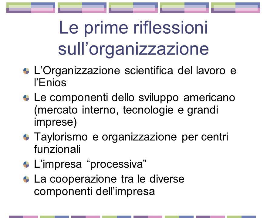 Le prime riflessioni sull'organizzazione