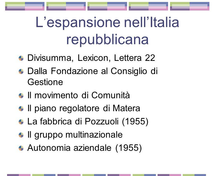 L'espansione nell'Italia repubblicana