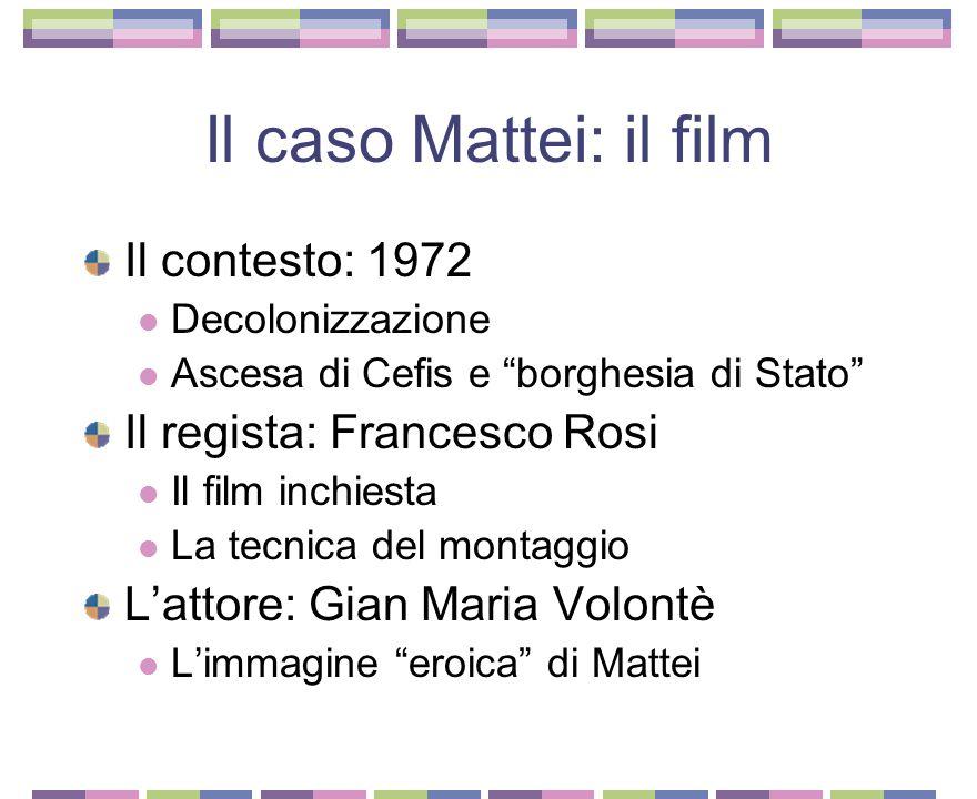Il caso Mattei: il film Il contesto: 1972 Il regista: Francesco Rosi
