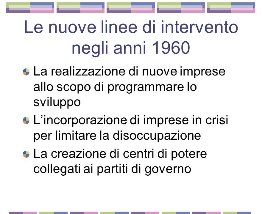 Le nuove linee di intervento negli anni 1960