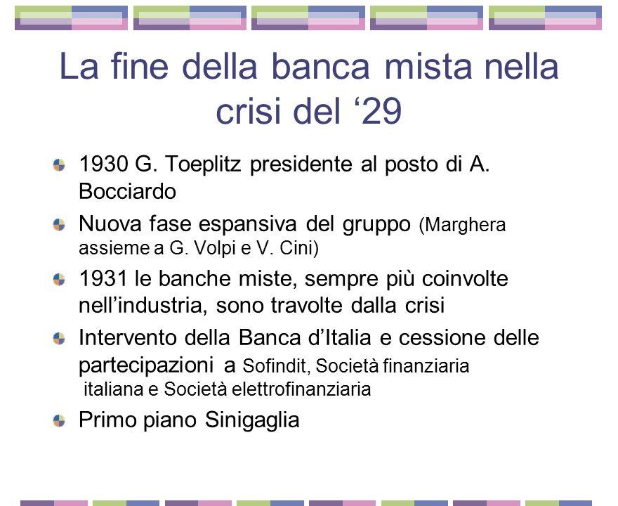 La fine della banca mista nella crisi del '29