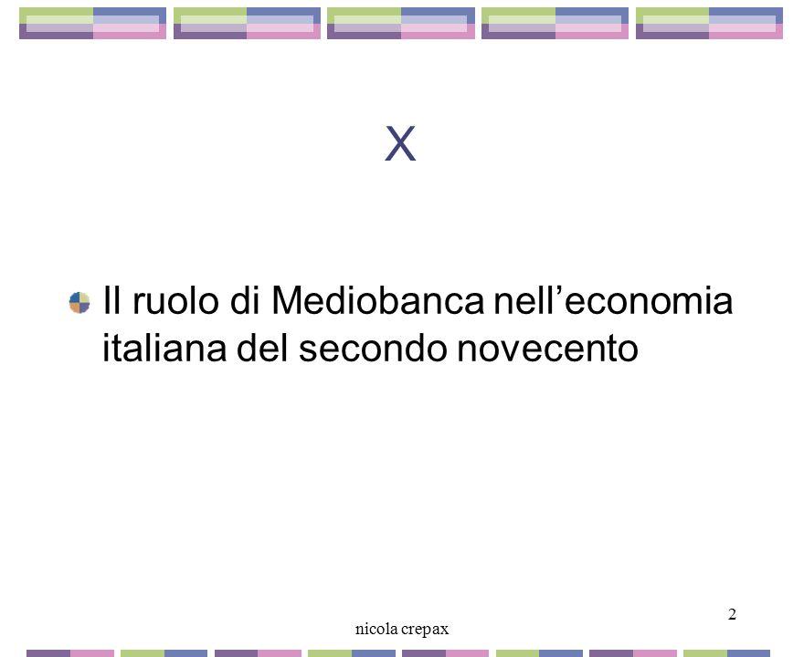 X Il ruolo di Mediobanca nell'economia italiana del secondo novecento