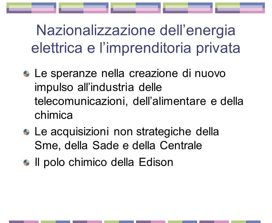 Nazionalizzazione dell'energia elettrica e l'imprenditoria privata