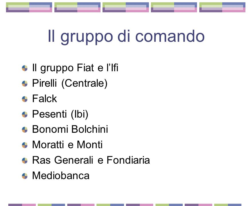 Il gruppo di comando Il gruppo Fiat e l'Ifi Pirelli (Centrale) Falck