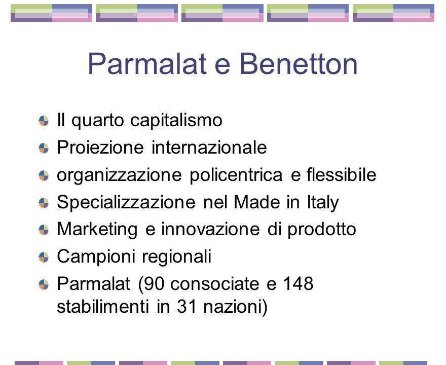 Parmalat e Benetton Il quarto capitalismo Proiezione internazionale