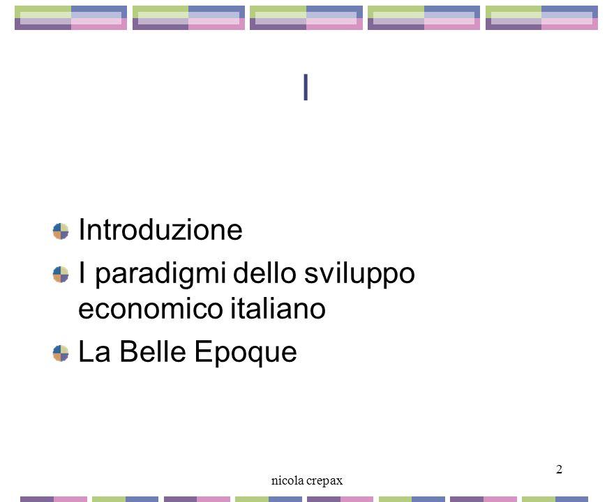 I Introduzione I paradigmi dello sviluppo economico italiano