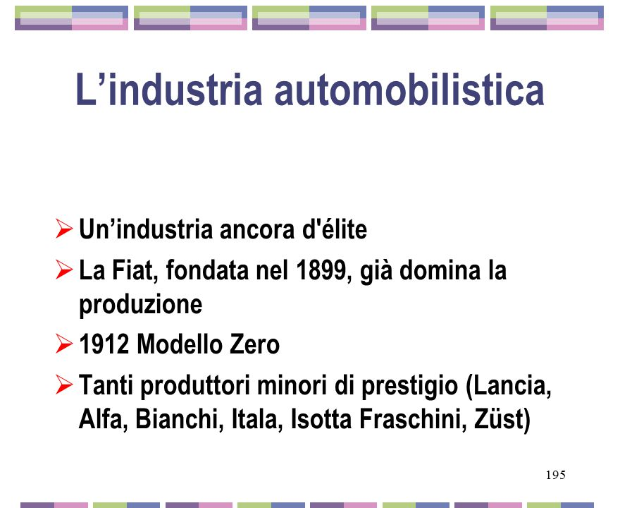 L'industria automobilistica