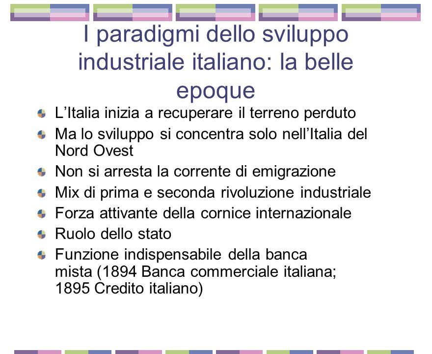 I paradigmi dello sviluppo industriale italiano: la belle epoque