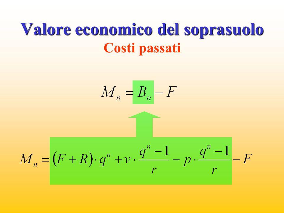 Valore economico del soprasuolo Costi passati