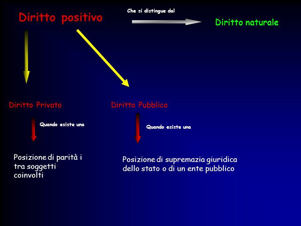 Diritto positivo Diritto naturale Diritto Privato Diritto Pubblico
