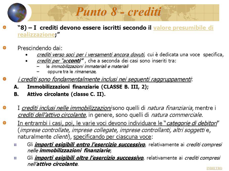 Punto 8 - crediti 8) – I crediti devono essere iscritti secondo il valore presumibile di realizzazione;