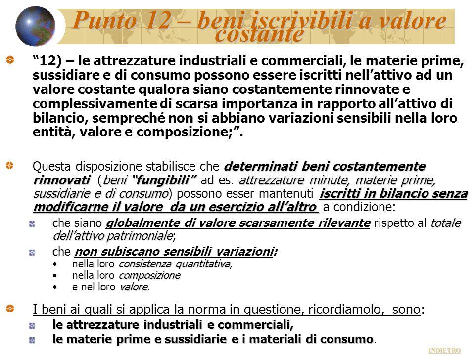 Punto 12 – beni iscrivibili a valore costante