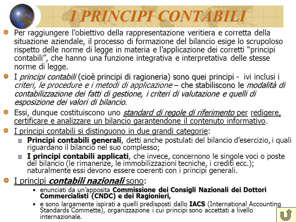 I PRINCIPI CONTABILI I principi contabili nazionali sono: