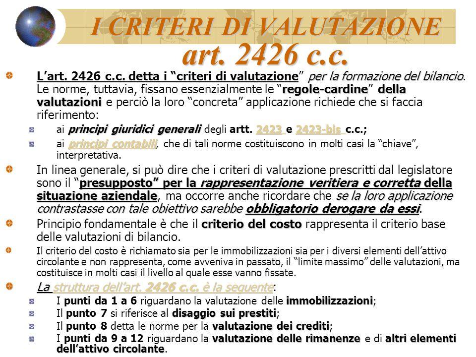 I CRITERI DI VALUTAZIONE art. 2426 c.c.