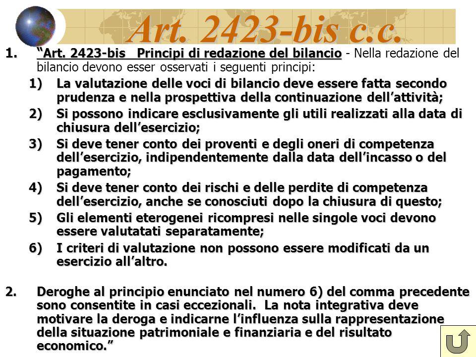 Art. 2423-bis c.c. Art. 2423-bis Principi di redazione del bilancio - Nella redazione del bilancio devono esser osservati i seguenti principi: