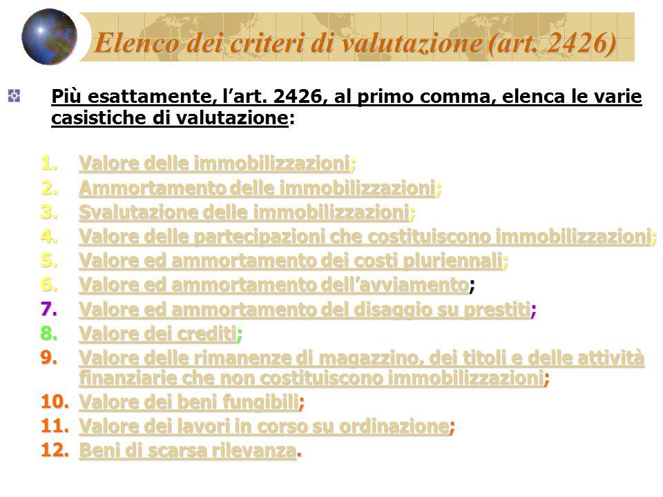 Elenco dei criteri di valutazione (art. 2426)