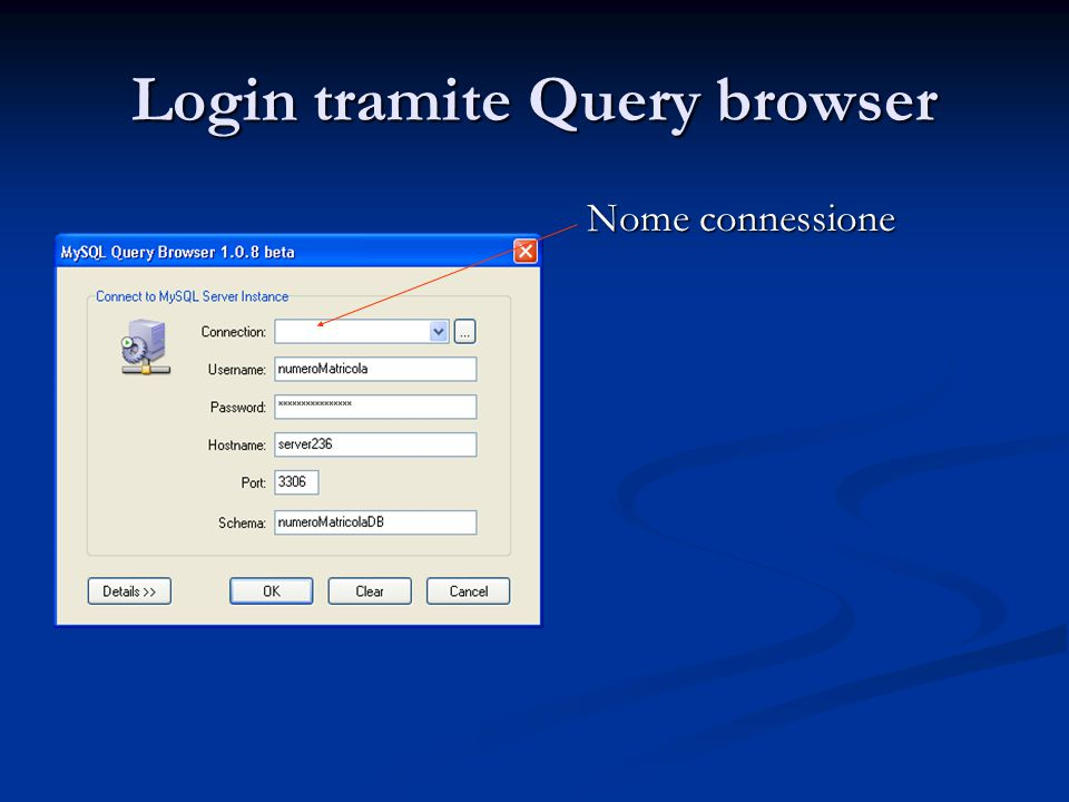 Login tramite Query browser