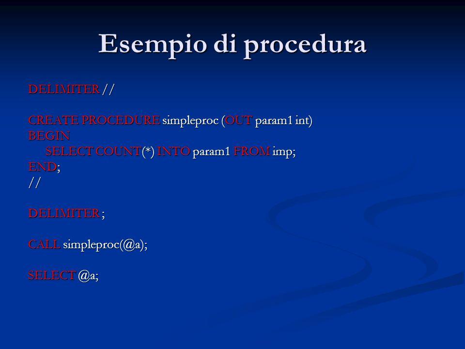Esempio di procedura DELIMITER //