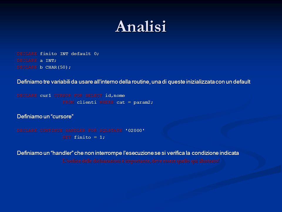 Analisi DECLARE finito INT default 0; DECLARE a INT; DECLARE b CHAR(50);