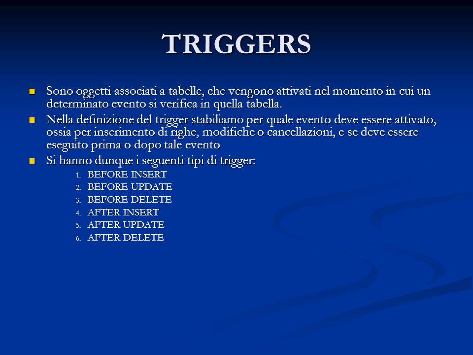 TRIGGERS Sono oggetti associati a tabelle, che vengono attivati nel momento in cui un determinato evento si verifica in quella tabella.