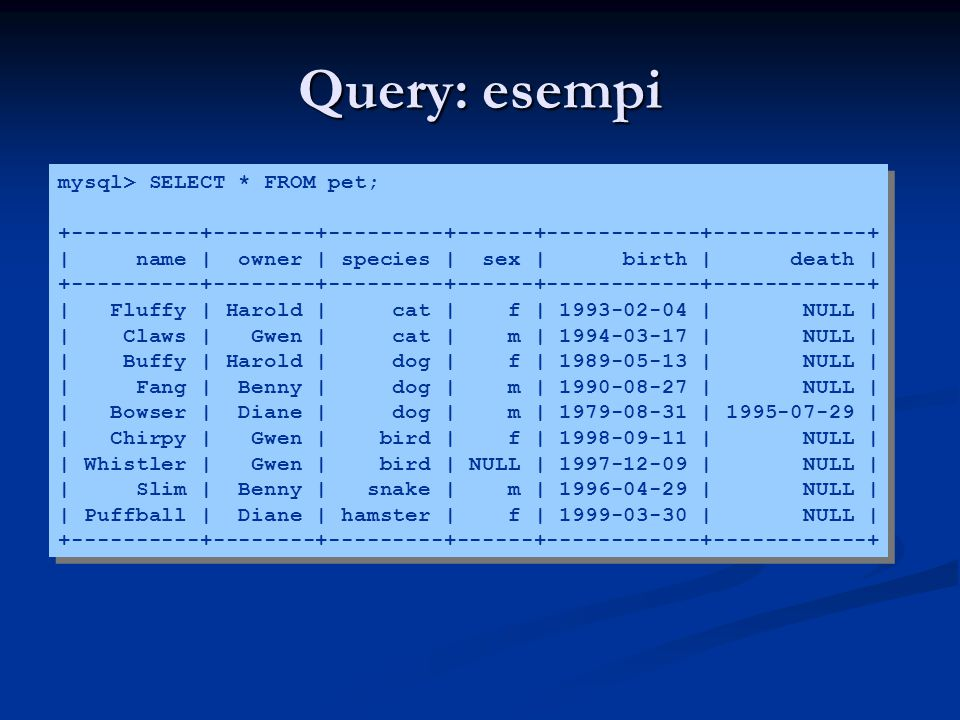 Query: esempi mysql> SELECT * FROM pet;