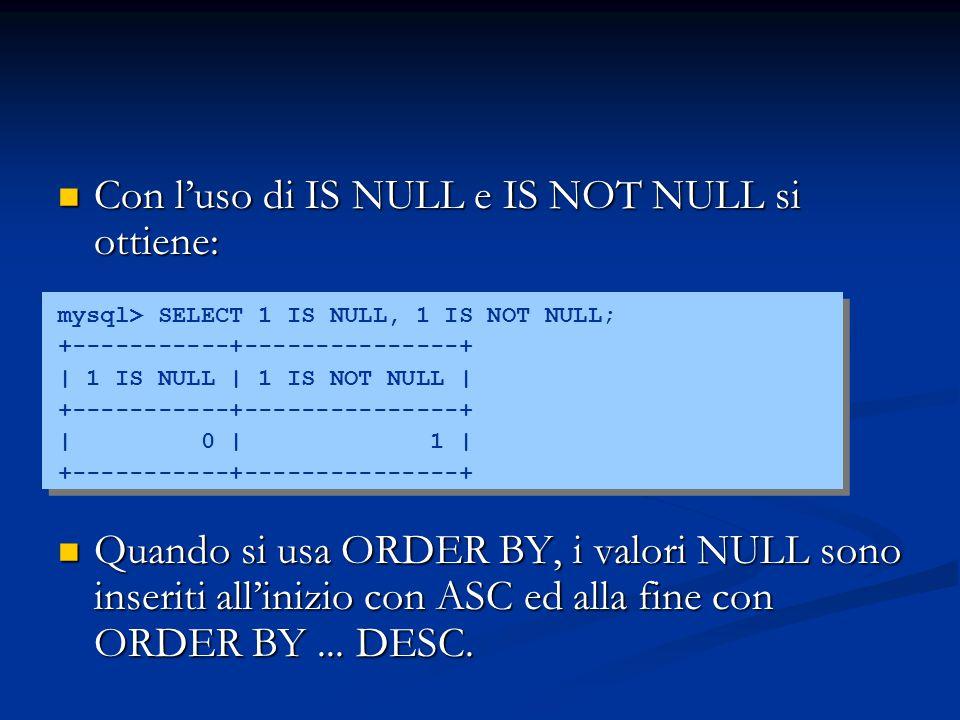 Con l'uso di IS NULL e IS NOT NULL si ottiene: