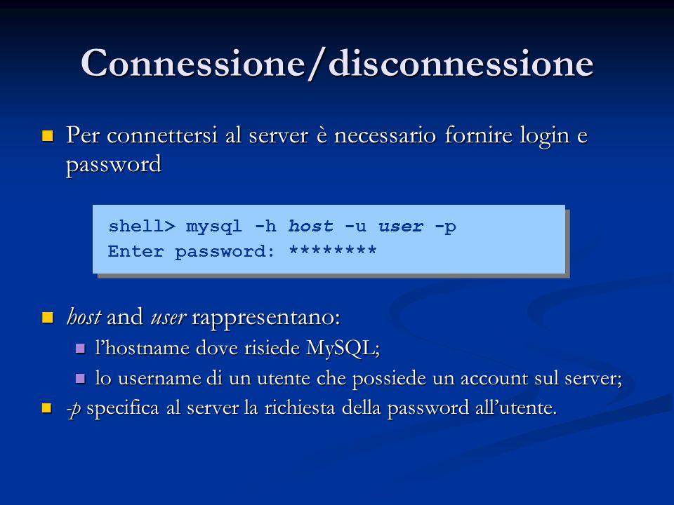 Connessione/disconnessione