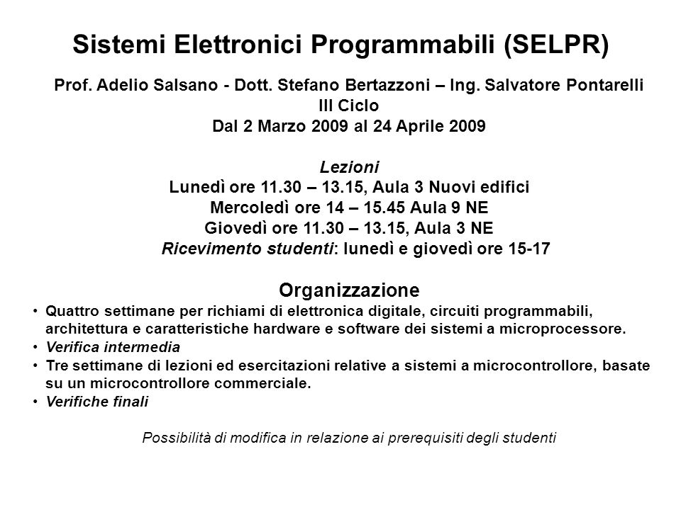 Sistemi Elettronici Programmabili (SELPR)