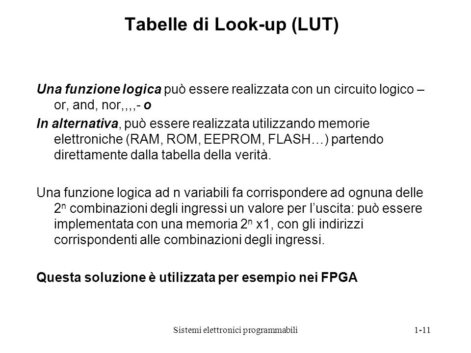 Tabelle di Look-up (LUT)