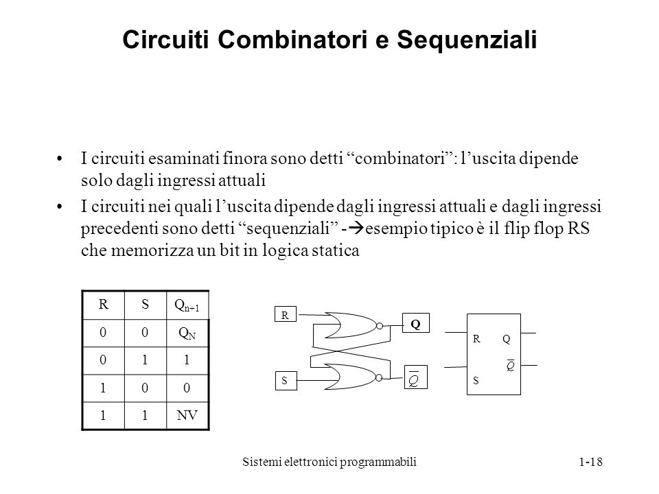 Circuiti Combinatori e Sequenziali