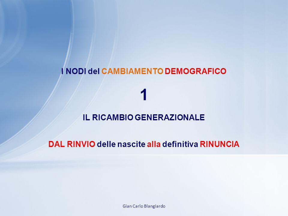 1 I NODI del CAMBIAMENTO DEMOGRAFICO IL RICAMBIO GENERAZIONALE