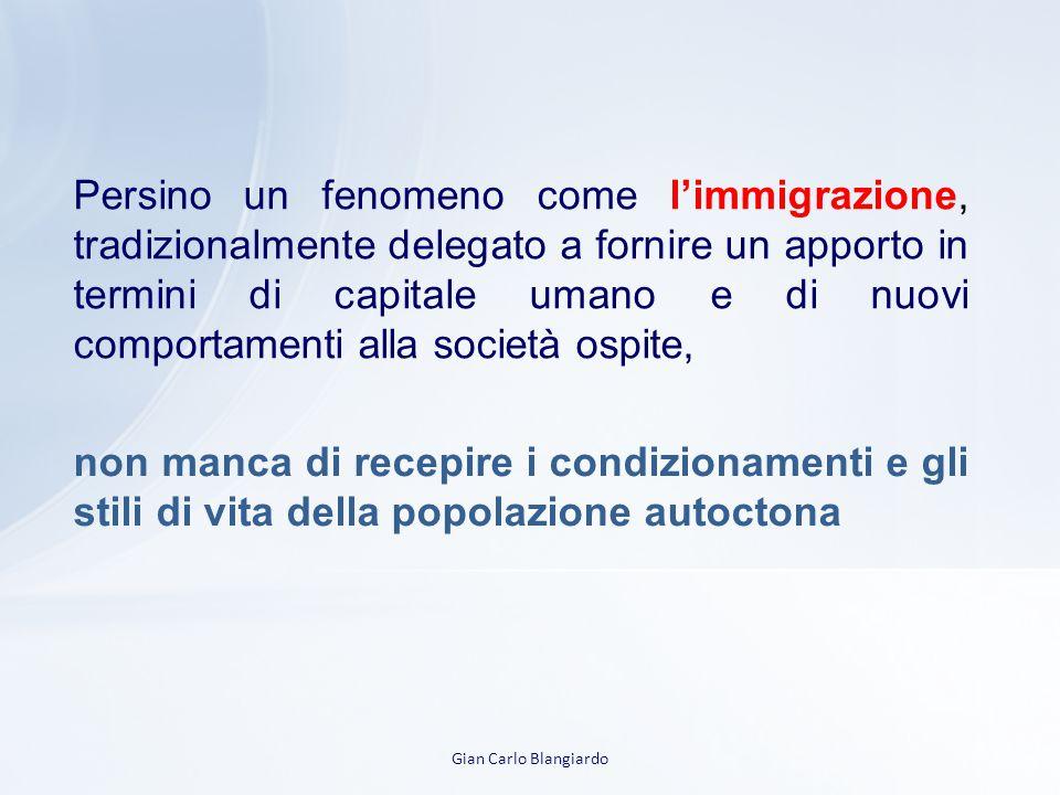 Persino un fenomeno come l'immigrazione, tradizionalmente delegato a fornire un apporto in termini di capitale umano e di nuovi comportamenti alla società ospite,