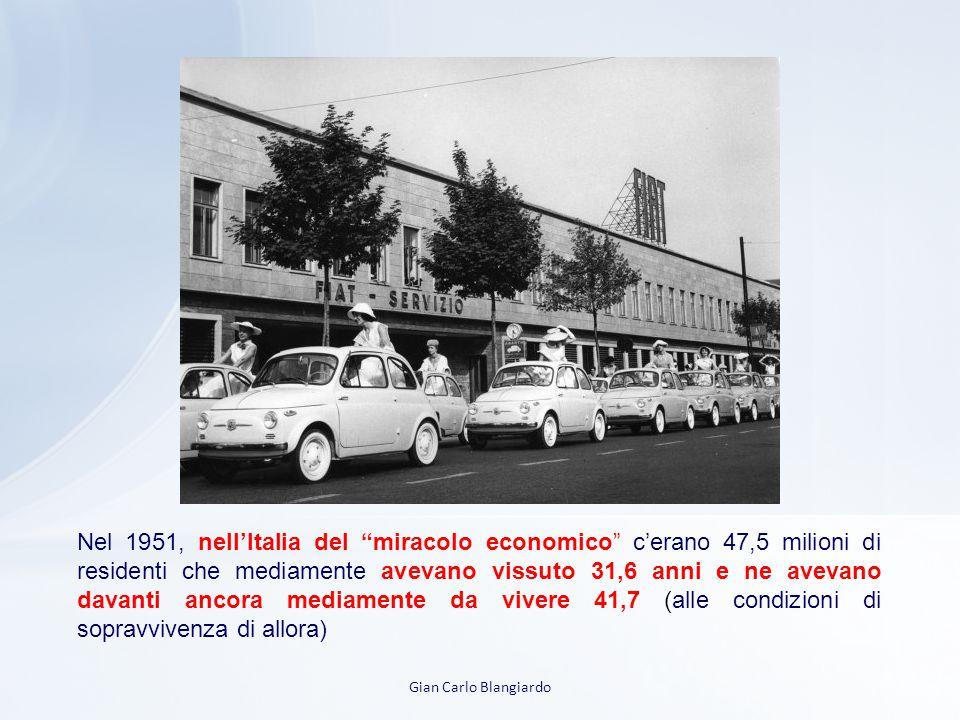 Nel 1951, nell'Italia del miracolo economico c'erano 47,5 milioni di residenti che mediamente avevano vissuto 31,6 anni e ne avevano davanti ancora mediamente da vivere 41,7 (alle condizioni di sopravvivenza di allora)