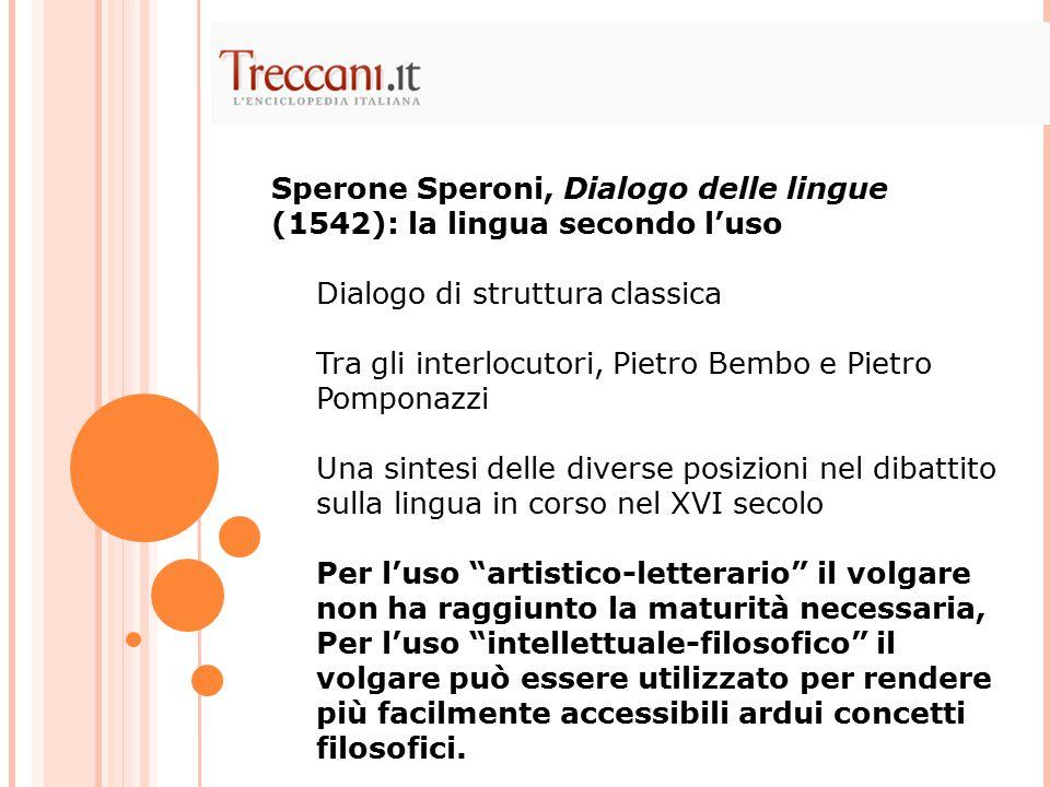 Sperone Speroni, Dialogo delle lingue (1542): la lingua secondo l'uso