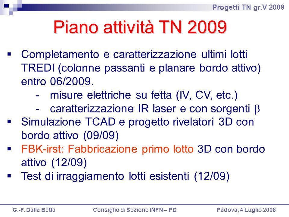 Piano attività TN 2009 Completamento e caratterizzazione ultimi lotti