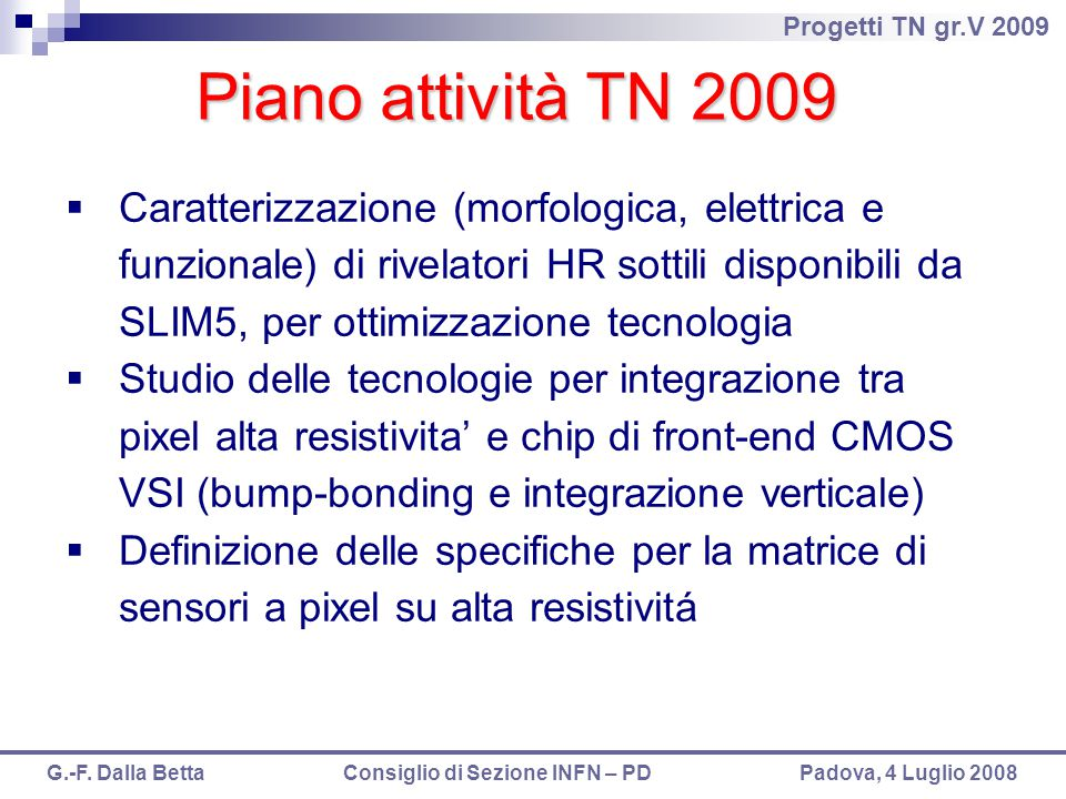 Piano attività TN 2009