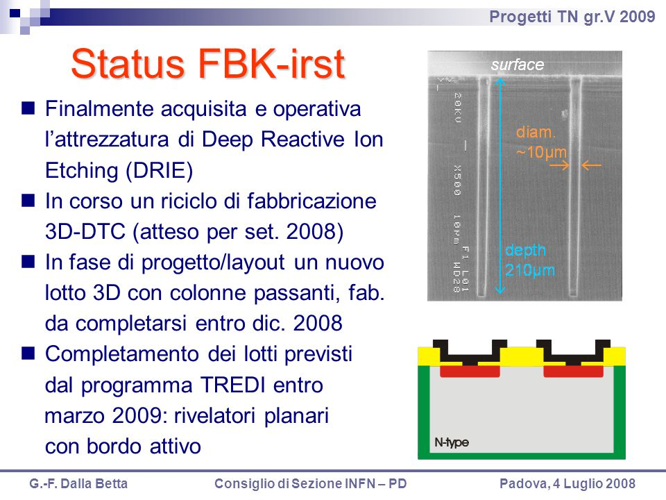 Status FBK-irst Finalmente acquisita e operativa