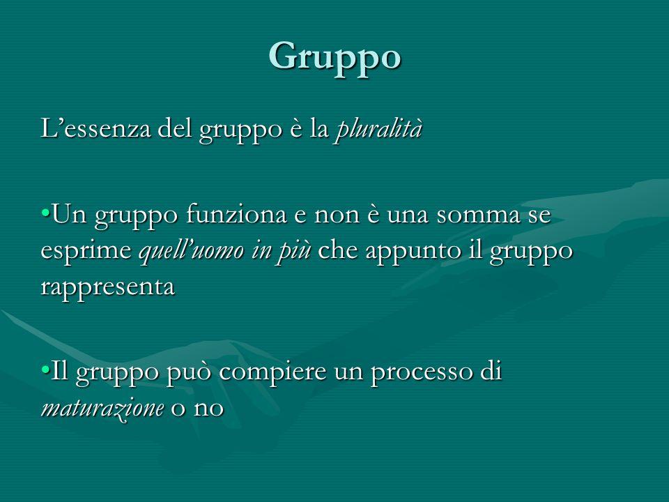 Gruppo L'essenza del gruppo è la pluralità