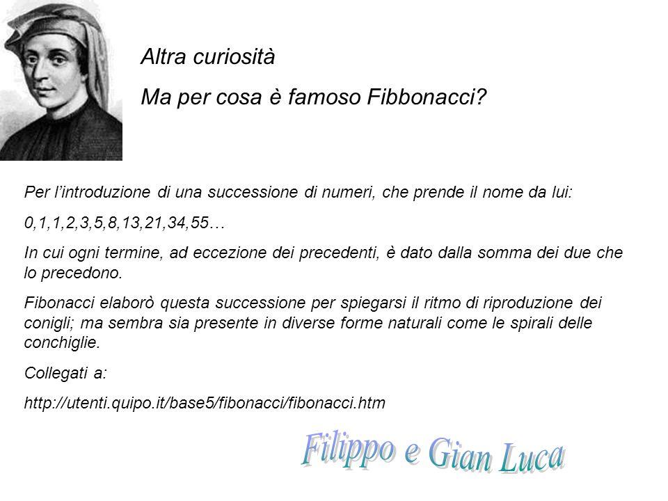 Filippo e Gian Luca Altra curiosità Ma per cosa è famoso Fibbonacci