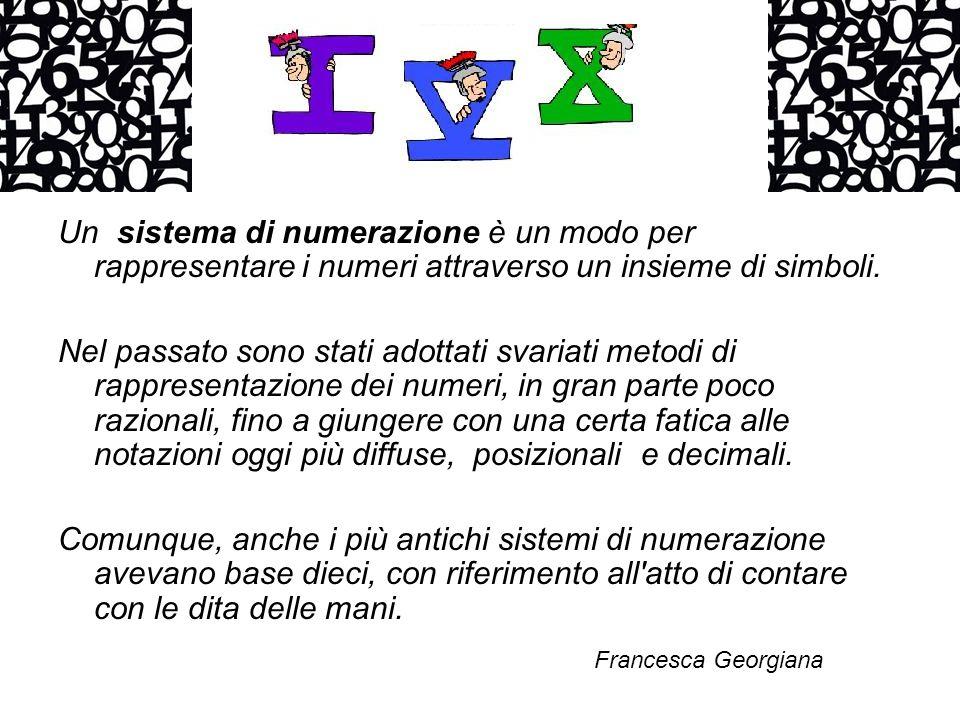 Un sistema di numerazione è un modo per rappresentare i numeri attraverso un insieme di simboli.