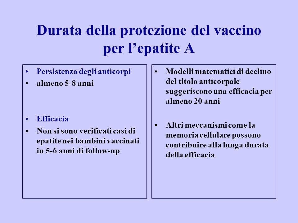 Durata della protezione del vaccino per l'epatite A